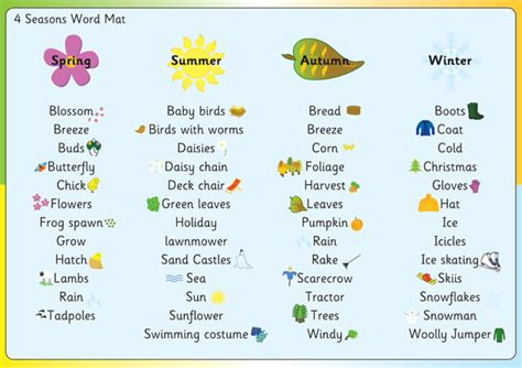 four seasons word mat free early years primary