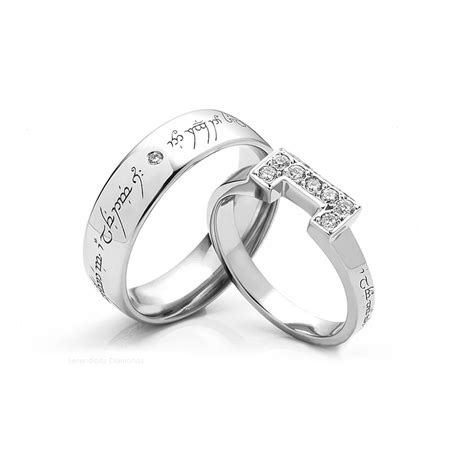 lord of the ring wedding ring lord of the rings wedding rings elvish engraved wedding rings