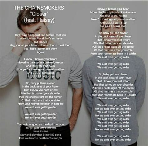 lyrics closer chainsmokers song chainsmoker songs quotes music walker alan dubstep lyric visit faded