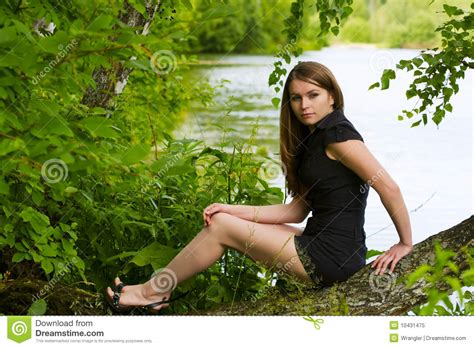 young woman   lake royalty  stock photo image