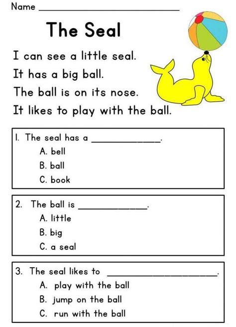seal kindergarten english worksheets  images