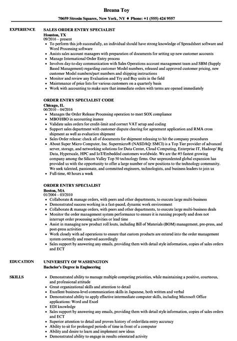 Order Processing Resume by Order Entry Specialist Resume Sles Velvet