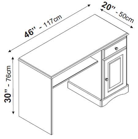 Office Desk Size by Bristol Computer Desk