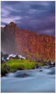 Waterfall Wall Of Red Cliffs, Dark Clouds Hd Wallpaper ...