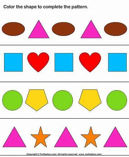 Complete Shapes Patterns Coloring Worksheet Worksheets Shape
