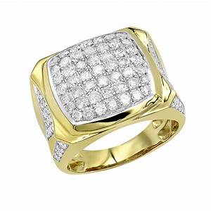 LUXURMAN Statement Jewelry: 10k Gold Mens Diamond Ring 3 ...  10k