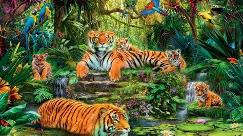 Jungle Animal Wallpaper - animal kingdom jungle tigers birds hd wallpaper