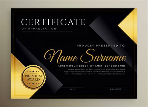 Black and gold certificate template Vector Free Download