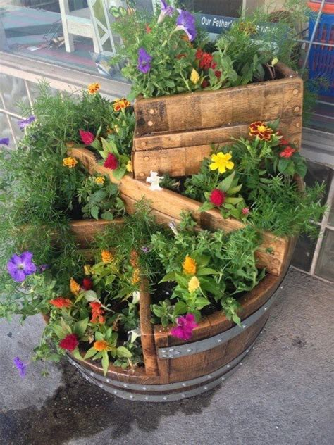 wine barrel planter ideas barrel planter garden ideas photograph wine barrel planter