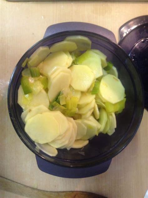 cuisine tupperware fondue de poireaux pommes de terre au micro cook ma
