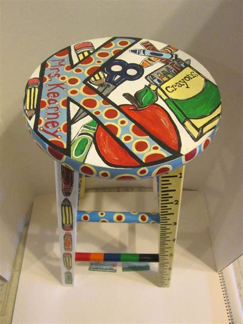 fun school themed hand painted wooden stool designed
