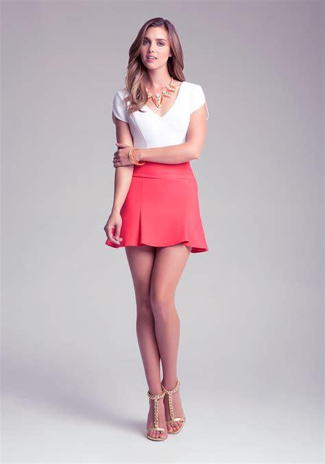 Lyst Bebe High Waist Skater Skirt In Red
