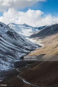 Beautiful Road Winding Through Snowy Mountain Stock Photo ...