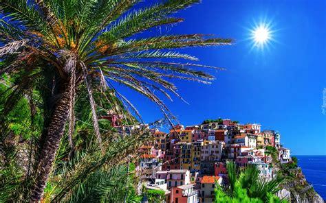Manarola, Włochy, Miasto, Słońce, Palmy, Lato