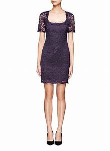 Emilio Pucci Open Back Short Sleeve Lace Dress in Purple ...