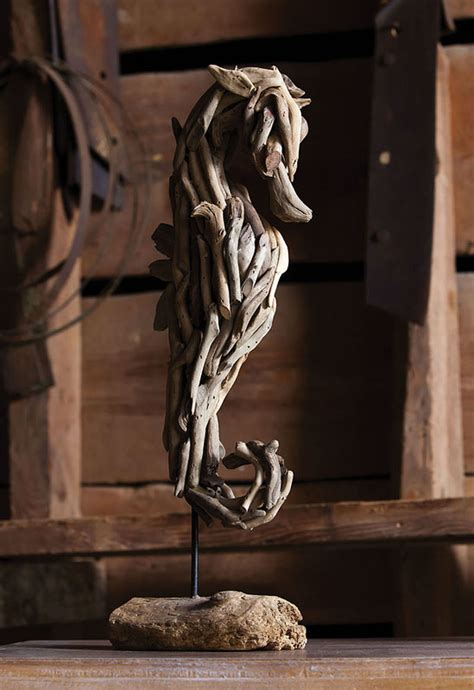 driftwood seahorse sculpture  stand
