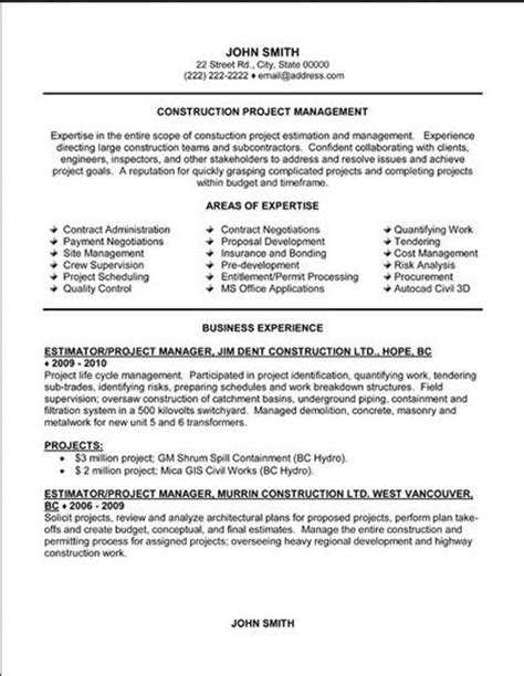 construction project management resumes sles 21 best best construction resume templates sles images on resume templates