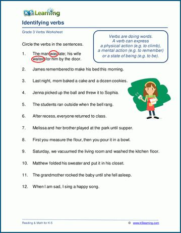 identifying verbs worksheets  grade   learning