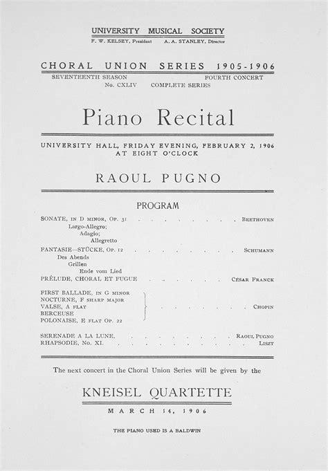 piano recital program ums concert program february 2 1906 choral union series piano recital musical