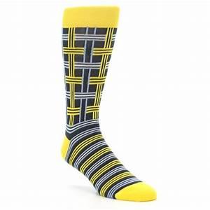 Yellow Grey Plaid Men's Dress Socks Statement Sockwear