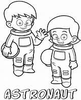 Coloring Astronauts Printable Professions Children Cartoon sketch template