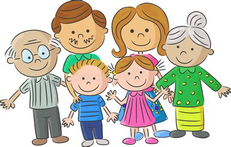Complete Cartoon Family Care Parents With Children Stock