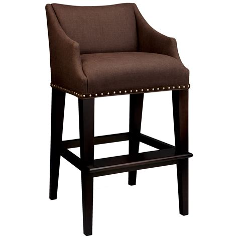 brown leather bar stool with white stitching and back on