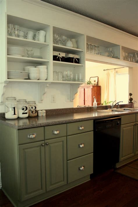 green appliances kitchen green lowers white uppers with white subway tile and a 1346