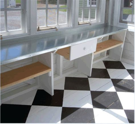 window bench with shelf in front of window pavilions and cabanas