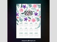 Calendário 2018 com flores da aguarela Baixar vetores grátis