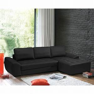 Canape Convertible Noir : canap d 39 angle noir convertible ~ Teatrodelosmanantiales.com Idées de Décoration