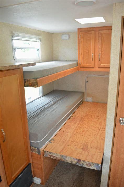 rv bunk mattress traveling triads travel trailer remodel reveal