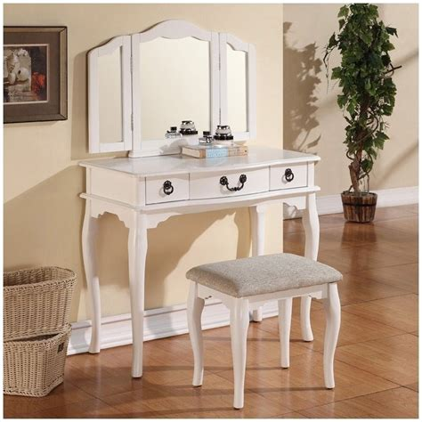 makeup vanity set poundex bobkona susana mirror vanity table with stool set