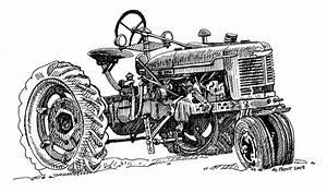 Old Farm Tractor In Pen And Ink