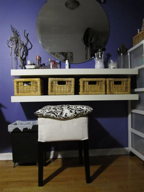 using a table as a desk diy vanity table using floating shelves baskets diy