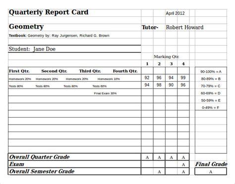 sample homeschool report card  documents   word
