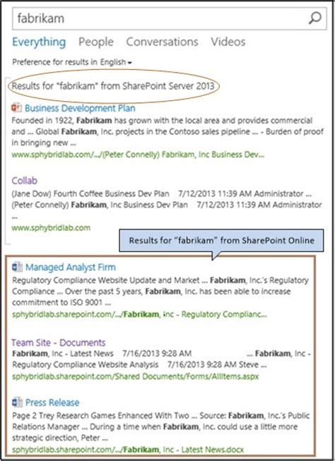 display hybrid federated search results in sharepoint microsoft docs