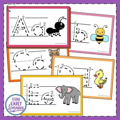 teach letters and writing with our free alphabet animal tracing cards