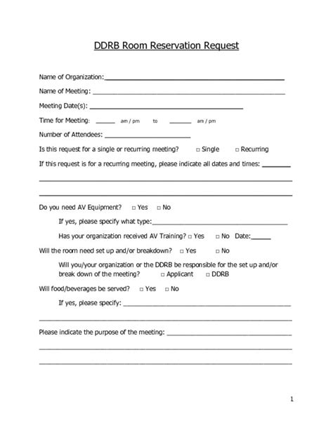 ddrb room reservation request electronic form ddrb