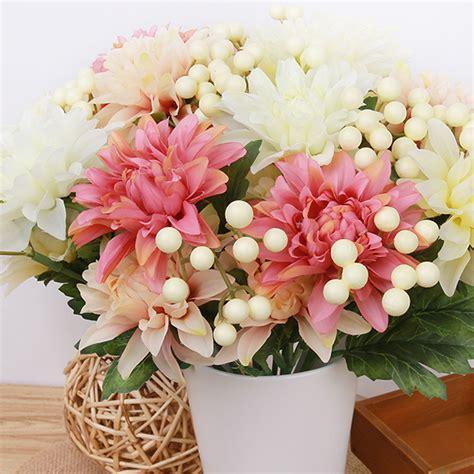 diy large silk flower bouquet roses dahlias artificial flowers fall leaf wedding home