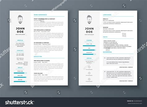 resume cv vector template awesome stock vector