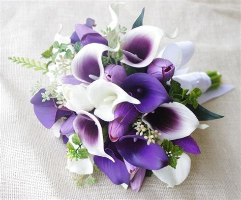 wedding bouquet  white  purple heart tulips