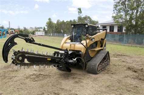 trencher attachments  skid steerstrack loaders  perfect  quickshallow jobs compact