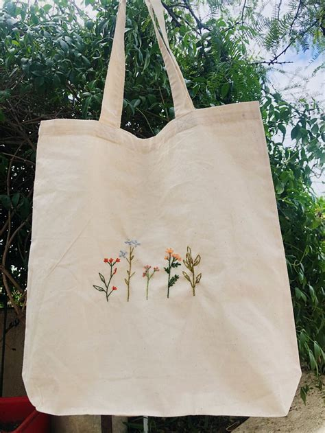 wild flower embroidered canvas bag etsy canvas bag design embroidery bags embroidered tote bag