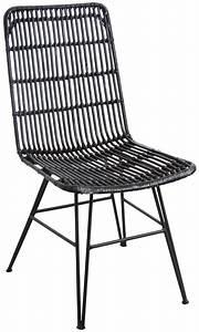 Chaise Rotin Noir : chaise en rotin et m tal ma a noir ~ Teatrodelosmanantiales.com Idées de Décoration