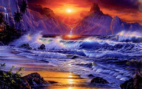ocean waves sunset beach wallpapers ocean waves sunset