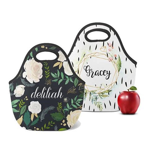 personalized lunch totes custom lunch box monogram lunch bag custom snack bag zip tote