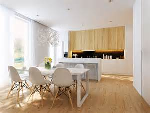 interior design for kitchen and dining white dining area and white open kitchen interior design ideas