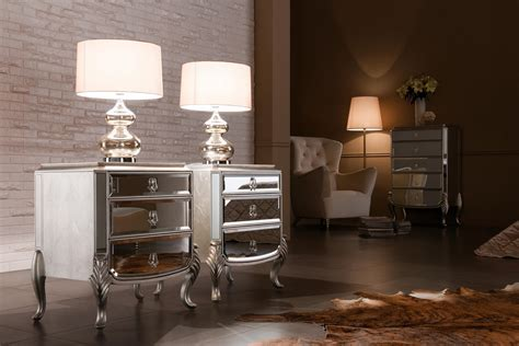 Pair Of Modern Mirrored Nightstand With 3 Drawers And