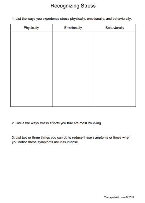 Recognizing Stress (worksheet)  Therapist Aid